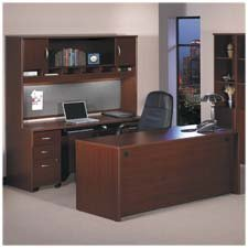 Buy Low Price Comfortable Bush Industries Products – Reception L-Hutch, 77″x71″x14″, Mahogany – Sold as 1 EA – Series C Collection configures in dozens of ways to create an efficient, affordable, private office environment. Durable 1″ thick melamine surfaces on work surfaces and end panels resist scratches and stains. Durable PVC-edge banding protects desk from bumps and collisions. Desktops and modesty panels have wire management grommets for computer cables, telephone cords and electrical wires. Freestanding, mobile pe (B004E3NOK2)
