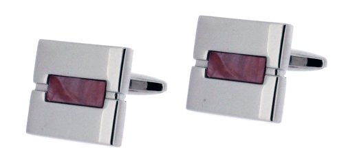 Code Red Base Metal Rhodium Plated Square Cufflinks with Faux Pink Mother-of-Pearl Stone