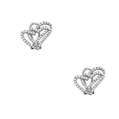 Exquisite Sterling Silver Button Earrings Designed with Interlocking CZ Open Hearts Style(WoW !With Purchase Over $50 Receive A Marcrame Bracelet Free)