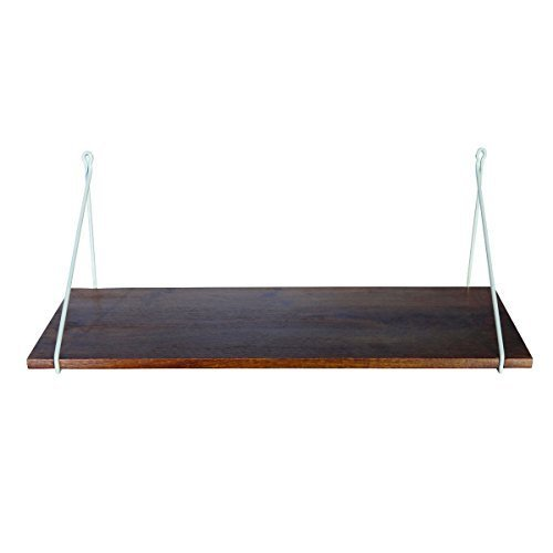 Shelf w. iron hanger, grey, 24x70 cm