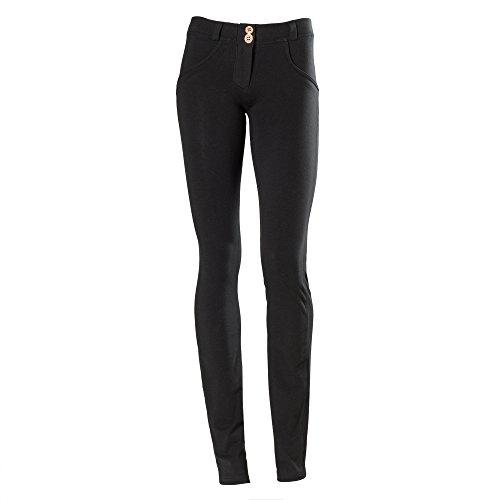 Freddy WR.UP - Pantaloni dritti da donna, a vita bassa, effetto modellante, S, nero