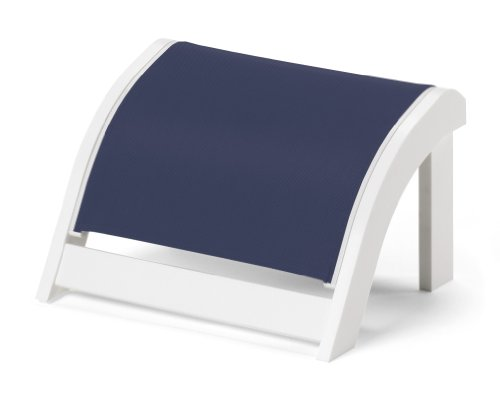 Telescope Casual Adirondack Mgp Sling Ottoman, Textured Snow Finish With Navy Sling Fabric
