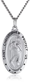 Sterling Silver Oval Saint Christopher Medal with Black