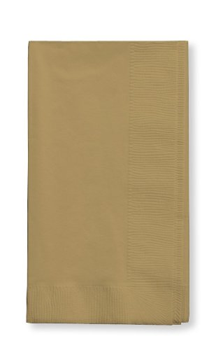 Creative Converting Touch of Color 2-Ply 50 Count Paper Dinner Napkins, Glittering Gold
