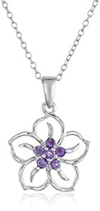 Sterling Silver and Amethyst Flower Pendant Necklace, 18""