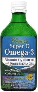 Carlson Labs Super D Omega3 Natural Vitamin D, 8.4 Ounce Glass Bottle Picture