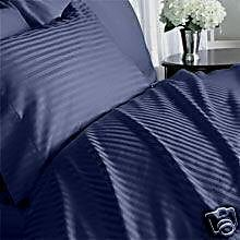 Stripes Navy 600 Thread Count Twin Extra Long Size Sheet Set 100 % Egyptian Cotton 3Pc Bed Sheet Set (Deep Pocket)Twin Xl By Sheetsnthings