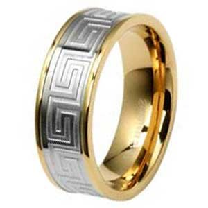 8MM High Polished Stainless Steel Ring With Gold Plated Edges and Silver Tone Design in Center