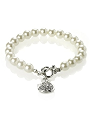 M&S Collection Pearl Effect Diamanté T-Bar Bracelet