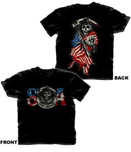 Sons of Anarchy Reaper Colored Flag Black S/S Men's T-shirt (103) (Large)