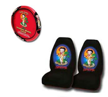 A Set of 2 Front Universal Fit Bucket Seat Cover and Steering Wheel Cover - Betty Boop Hawaii Grass Skirt Aloha