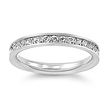Fancy Stainless Steel Simulated Diamond Eternity Band Ring (Sizes 3 - 10)