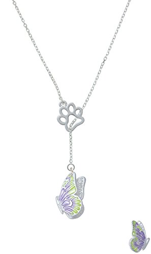 Large Translucent Purple & Lime Green Flying Butterfly Open Paw Lariat Necklace