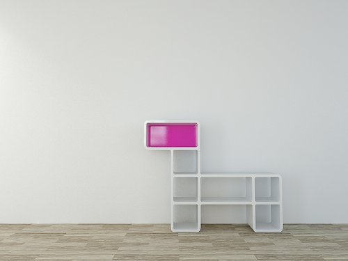 CUMIX DESIGN Regal System cm-mv-004 weiß , Rückwand pink