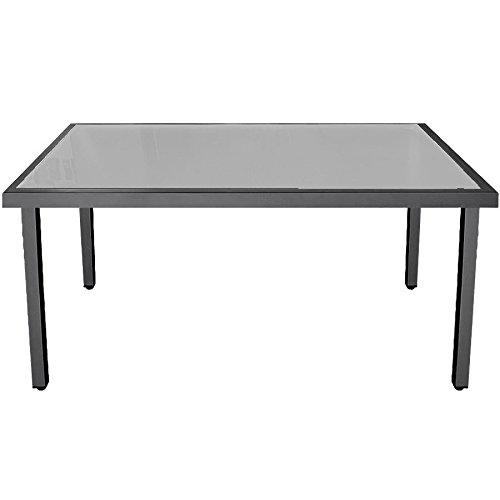 Garten-Glastisch 150x90cm Gartenmöbel Aluminium Terrassenmöbel Anthrazit/Satiniert günstig bestellen