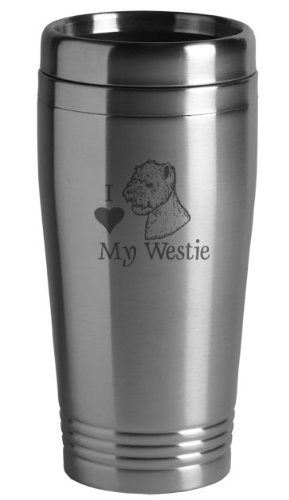 16-ounce Stainless Travel Mug - I Love My Westie