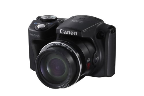 Canon PowerShot SX500 IS Digital Camera - Black (16.0 MP, 30x Optical Zoom) 3.0 inch LCD