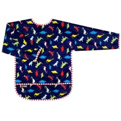 Kushies Taffeta Waterproof Bibs with Sleeves, Dinos, 2-4 Years