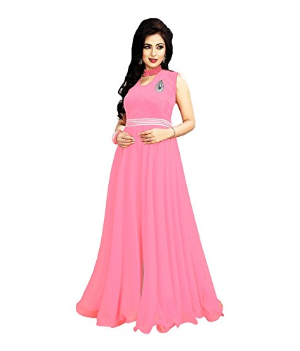 ICON PINK PARTY WEARS WESTERN GOWN DRESS IN FREE SIZE Price in India ...