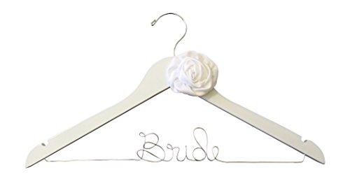 Satin Handmade Rose Bride Hanger for Wedding Dress on White Wood Premium Hanger with White Rose Embellishment