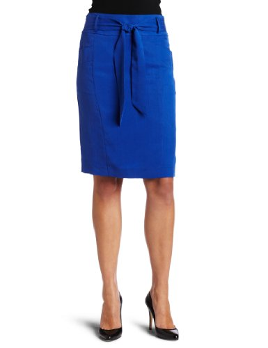 Calvin Klein Womens High Waist Tied Front Skirt, Marine, 6