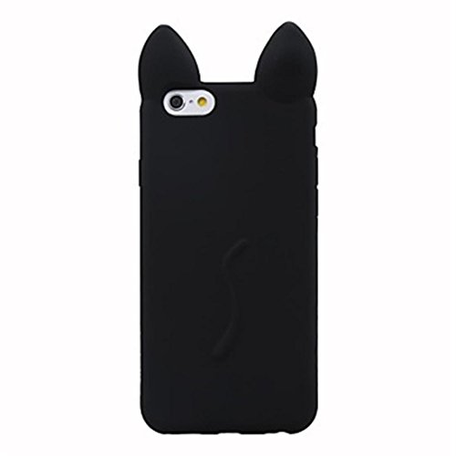 NightKid Süße Kätzchen und Katzen Ohr Weiches Silikon hülle (iPhone 5C iPhone 6S iPhone 6 iPhone 5/5S iPhone 4/4S )(iPhone 6/4.7,Schwarz)