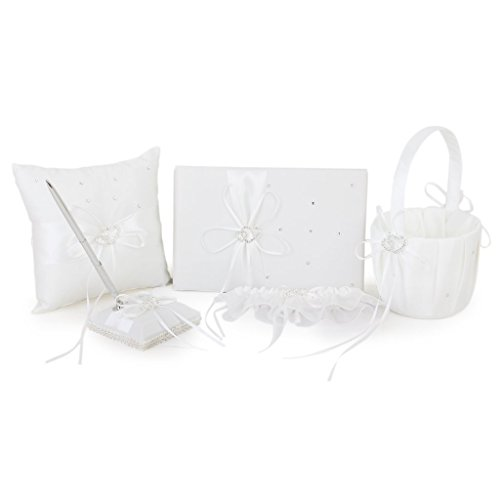 Find Discount FOREVER YUNG 5 Pieces Double Heart Set Including Wedding Guest Book, Pen, Ring Pillow,...