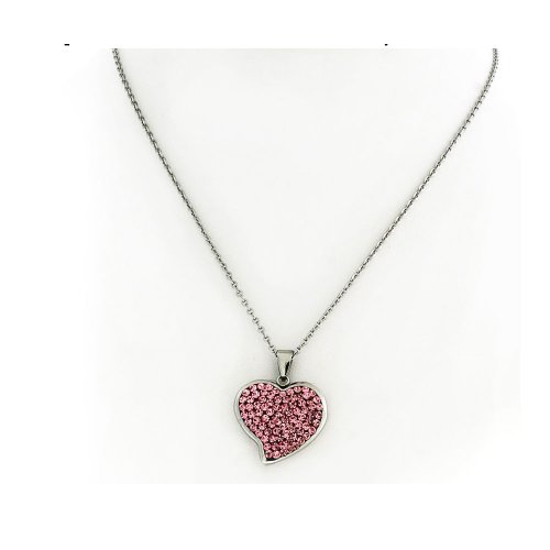 Pink Crystal Silver Tone Stainless Steel Heart Pendant with Chain