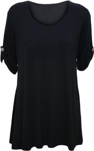 womens-plus-size-scoop-neck-short-sleeve-flared-ladies-long-plain-top-black-22-24