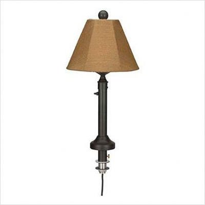 Catalina Umbrella Table Outdoor Lamp with Sunbrella Shade Lamp Finish: Bronze, Lamp Shade: Spring