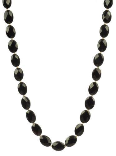 Small Black Onyx Flat Faceted Oval Bead and Gold Filled Bead Necklace, 18