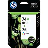 HP 74XL Black & 75 Tri-Color Combo Saver Pack
