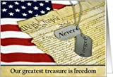 Military dog tags on U.S. Constitution for Memorial Day Card