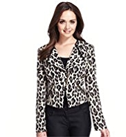 Petite Animal Print Biker Jacket
