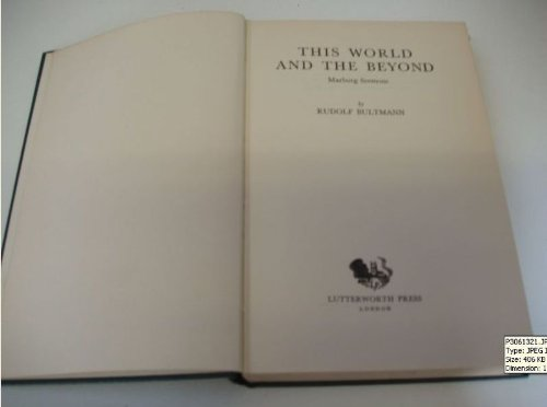 This World and the Beyond: Marburg Sermons: Rudolf Bultman: Amazon.com: Books