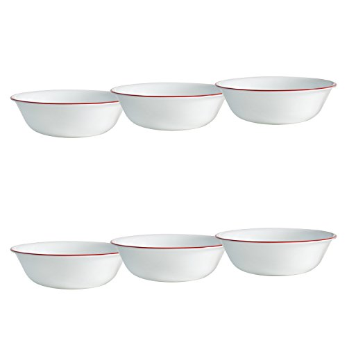Corelle Livingware 6-Piece Ruby Red Bowls Set, 18-Ounce, White (Ruby Red Corelle compare prices)