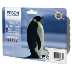 Epson - Multipack T5597 - Pack de 6 - noir, jaune, cyan, magenta, magenta clair, cyan clair - original - emballage coque avec alarme radioélectrique acoustique - cartouche d'encre - pour Stylus Photo RX700