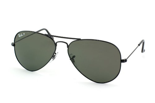 Ray Ban Aviator Large Metal Sunglasses - Black w/ Grey Polarized Mirror Lens 55mm