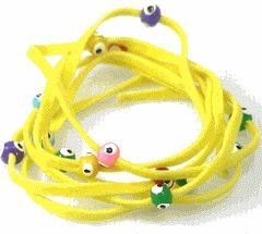 Lucky Charms USA Evil Eye Lucky String Wrap Bracelet Anklet with Colorful Lucky Eyes - Health Yellow