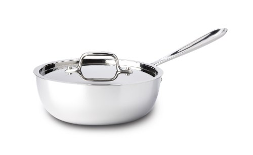 All-Clad 4213 Stainless Steel Tri-Ply Bonded Dishwasher Safe Saucier Pan with Lid / Cookware, 3-Quart, Silver