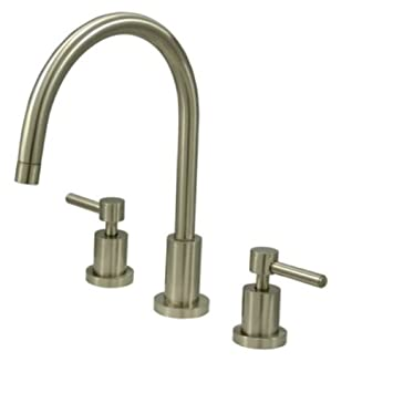 Kingston Brass KS8728DLLS Concord Widespread Kitchen Faucet Less Sprayer, Satin Nickel