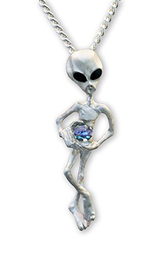 UFO Alien Holding Crystal Ball Silver Finish Pendant