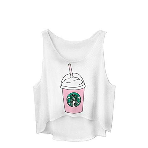 JETTINGBUY Women Short-cut Tops Crop Top Vest Tank Tops Digital 3D Print T Shirt Small (Emoji Tank Top compare prices)