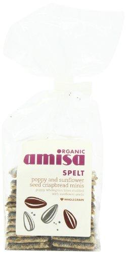 Amisa Organic Crispbread Spelt Minis Poppyseed Sunflower 150 g (Pack of 6)