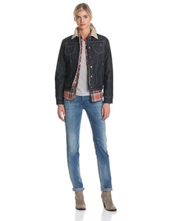 Fj368 women s sherpa lined denim jacket amazon co uk clothing