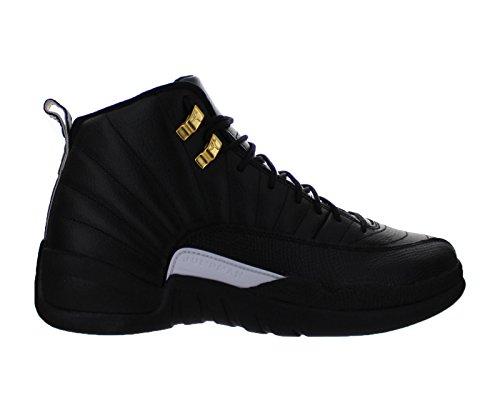 Nike Mens Air Jordan 12 Retro Black/White-Metallic Gold Leather