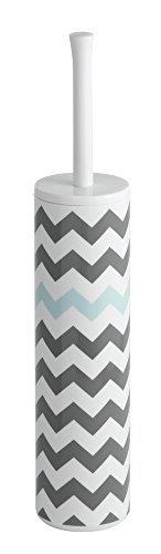 mDesign Slim Toilet Bowl Brush and Holder for Bathroom Storage - Gray/Mint Chevron