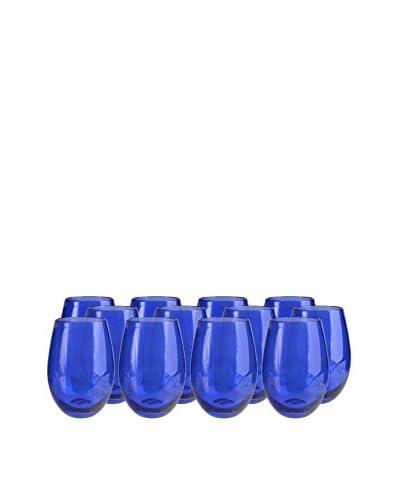Artland Iris Set of 12 Stemless Tumblers, Cobalt Blue