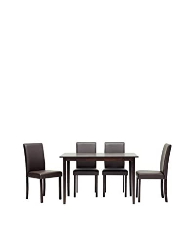 Baxton Studio 5-Piece Susan Wood Dining Set, Light Cappuccino