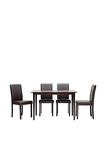 Baxton Studio 5-Piece Susan Wood Dining Set, Light Cappuccino